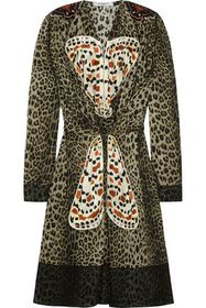 GIVENCHY Leopard-print silk dress with butterfly a