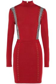 BALMAIN Mesh-paneled studded stretch-knit turtlene