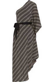 HALSTON HERITAGE One-shoulder striped silk crepe d