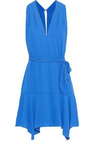 HALSTON HERITAGE Belted crepe de chine mini dress