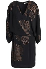 HALSTON HERITAGE Wrap-effect printed twill mini dr