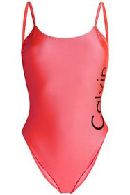 CALVIN KLEIN Open-back printed swimsuit