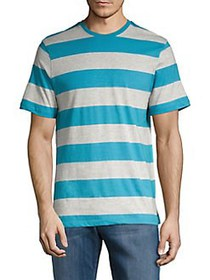 Black Brown 1826 Striped Cotton Blend Tee BAY BLUE