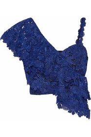 ALICE + OLIVIA Cropped ruffled guipure lace top