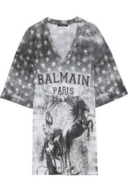 BALMAIN Oversized distressed printed linen-jersey