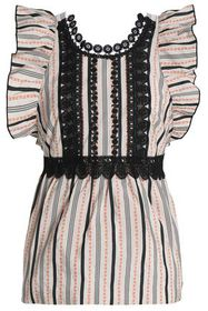 ANNA SUI Ruffled lace-trimmed jacquard top