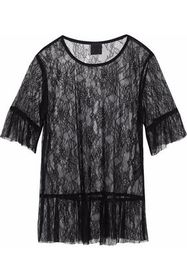 ANNA SUI Ruffle-trimmed Chantilly lace top