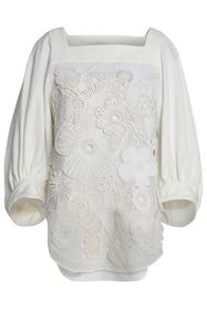 CHLOÉ Embroidered silk-twill top