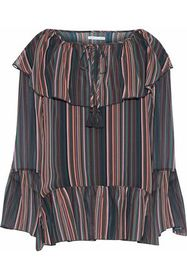 REBECCA MINKOFF Ruffled striped chiffon top