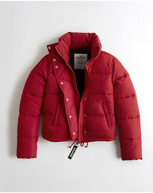 Hollister Mockneck Puffer Jacket, RED