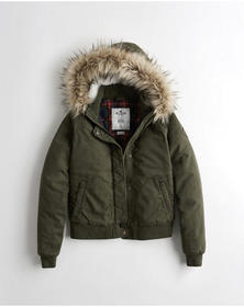 Hollister Stretch Flannel-Lined Twill Bomber Jacke