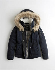 Hollister Cozy-Lined Down Anorak, NAVY