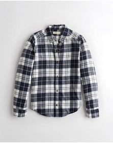 Hollister Plaid Flannel Shirt, NAVY PLAID