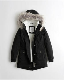 Hollister Stretch Cozy-Lined Parka, BLACK AND CREA