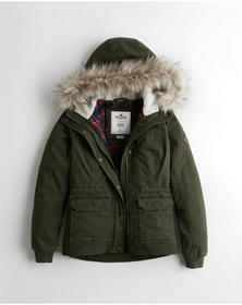 Hollister Stretch Flannel-Lined Twill Anorak, OLIV