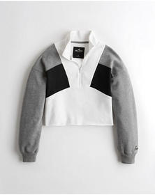 Hollister Cutoff Colorblock Half-Zip Sweatshirt, G