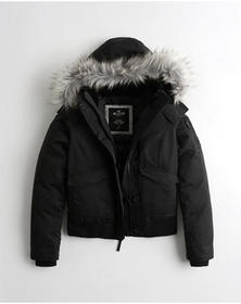 Hollister Down Bomber Jacket, BLACK