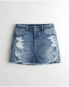 Hollister Vintage Stretch High-Rise Denim Skirt, R