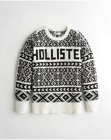 Hollister Oversized Patterned Logo Sweater, BLACK