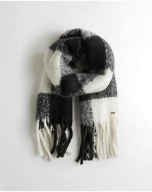 Hollister Chunky Woven Scarf, BLACK PLAID