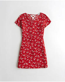 Hollister Lace-Up Cap-Sleeve Dress, RED FLORAL