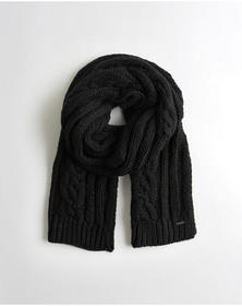Hollister Cable Knit Scarf, BLACK