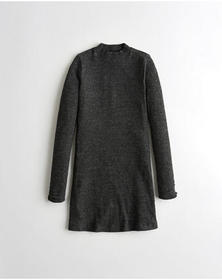 Hollister Mockneck Knit Dress, DARK GREY