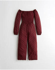 Hollister Off-The-Shoulder Jumpsuit, BURGUNDY DOT