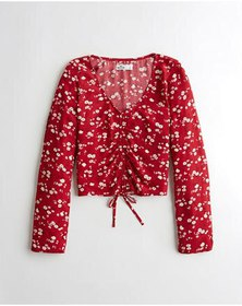 Hollister Tie-Front Top, RED FLORAL
