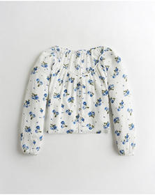 Hollister Button-Front Peasant Top, WHITE FLORAL