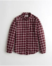 Hollister Plaid Shirt, BURGUNDY PLAID