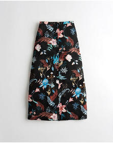 Hollister Ultra High-Rise Midi Skirt, BLACK FLORAL