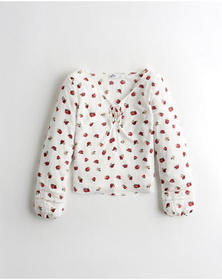 Hollister Lace-Up Peasant Top, WHITE FLORAL
