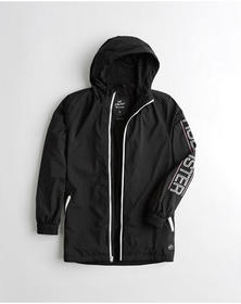 Hollister Mesh-Lined Longline Windbreaker, BLACK