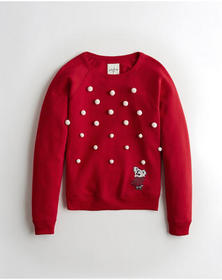 Hollister Pom Crewneck Sweatshirt, RED