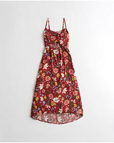 Hollister Floral Cutout Maxi Dress, RED FLORAL