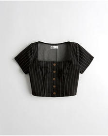 Hollister Square-Neck Crop Top, BLACK STRIPE