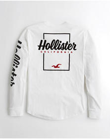 Hollister Logo Graphic Tee, WHITE