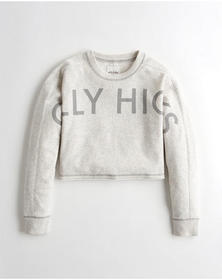 Hollister Logo Crop Crewneck Sweatshirt, HEATHER L