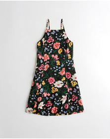 Hollister Lace-Up High-Neck Dress, BLACK FLORAL