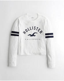 Hollister Crop Boyfriend Graphic Tee, WHITE