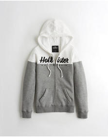 Hollister Colorblock Full-Zip Hoodie, WHITE AND GR