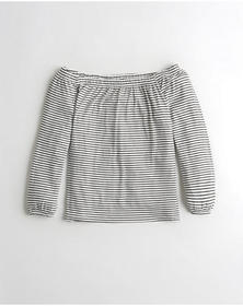 Hollister Off-The-Shoulder Top, WHITE STRIPE