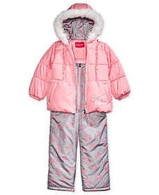 London Fog Little Girls Hooded Unicorn Snowsuit wi