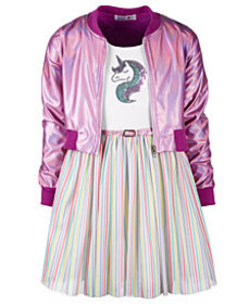 Beautees Big Girls 2-Pc. Bomber Jacket & Rainbow S