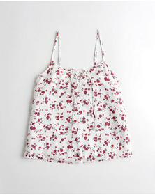Hollister Tie-Front Tank, WHITE FLORAL