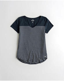 Hollister Must-Have Easy T-Shirt, NAVY COLORBLOCK