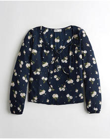 Hollister Lace-Up Peasant Top, NAVY FLORAL
