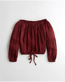 Hollister Tie-Front Off-The-Shoulder Top, BURGUNDY