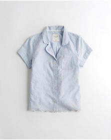 Hollister Eyelet Woven Sleep Shirt, Blue Stripe